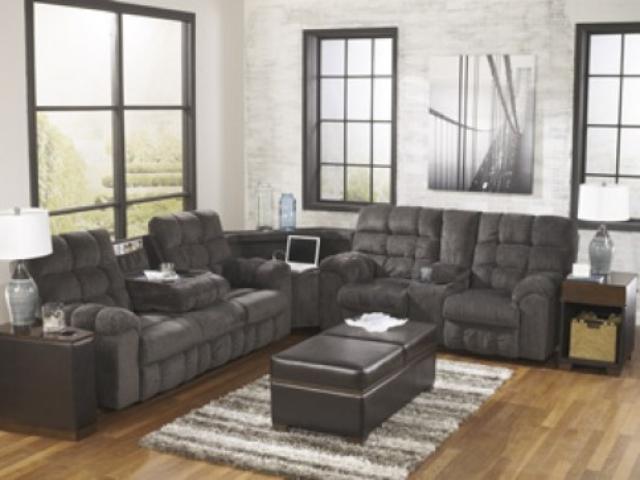 Acieona Slate Reclining Sofa scene