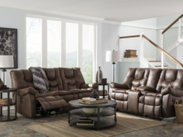 Burgett Espresso Reclining Sofa scene